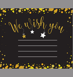 greeting card with we wish you inscription vector image