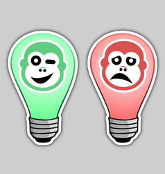 happy and sad bulb vector image
