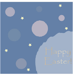 happy easter congratulations card with stars vector image