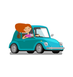 Happy girl rides car driving trip travel vector