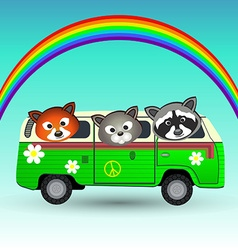 Hippie van with animals vector image