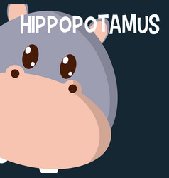 hippo cute animal cartoon vector image
