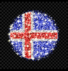 Iceland flag sparkling badge vector