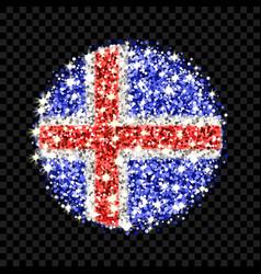 iceland flag sparkling badge vector image
