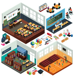isometric design of school buildings and vector image