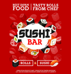 Japanese sushi and rolls bar cuisine of japan vector