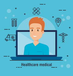 Laptop with doctor character and telemedicine vector