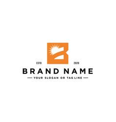 Letter b sun logo design vector