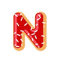 Letter n donut font doughnut alphabet sweet vector