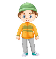 little boy in winter clothes vector image