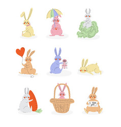 lovely cute bunnies set sweet rabbits characters vector image