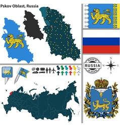 Map of Oblast of Pskov vector