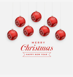merry christmas greeting design with hanging red vector image