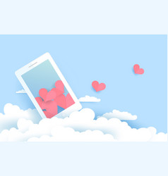 Mobile and clouds in paper cut style eps10 vector