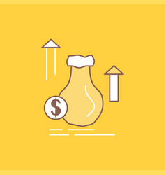 money bag dollar growth stock flat line filled vector image