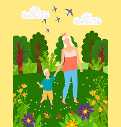 mother and child walking in green park vector image