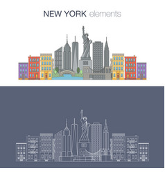 New york thin line icon banner vector