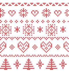 Nordic pattern with snowflakes and xmas trees vector image