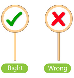 Opposite words with right and wrong vector
