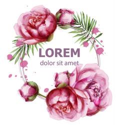 peony flowers delicate wreath wedding vector image