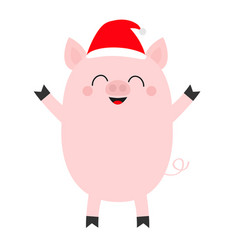 pig piglet standing santa hat cute cartoon funny vector image