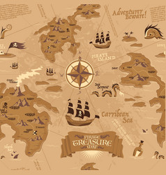 pirate map seamless pattern vector image