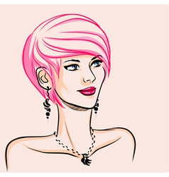 portrait of extravagant woman with rose hair vector image