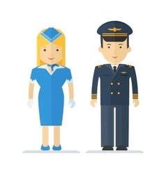 Profession pilot and stewardess vector