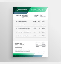 Professional green geometric invoice template vector