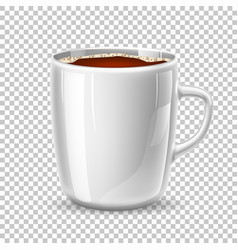 realistic mug cup of coffee side view vector image