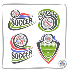 set abstract logos for soccer vector image