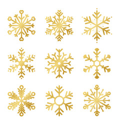 set golden snowflakes for christmas decoration vector image