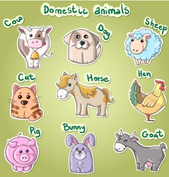 Set of cartoon domestic animals vector image