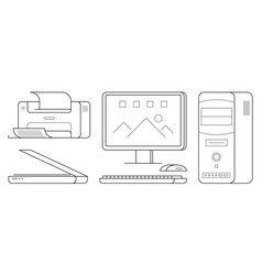 set of computer office equipment vector image