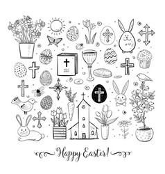 Set of easter doodles on white background vector