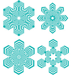 set of simple geometric design elements turquoise vector image