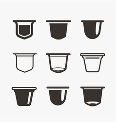 Set of the coffee capsules flat icons vector