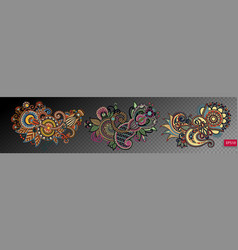 set of three paisley flower design isolated on a vector image