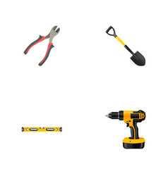 set of tools realistic symbols with pliers drill vector image
