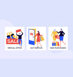 shopping and sales colorful banner template vector image