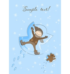 Snow angel xmas card vector