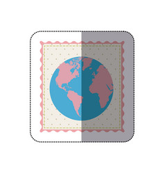 Sticker frame with silhouette of world map with vector