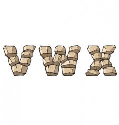 stone Alphabet vwx vector image