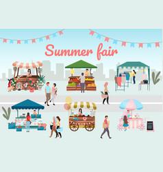 Summer fair flat outdoor street market stalls vector