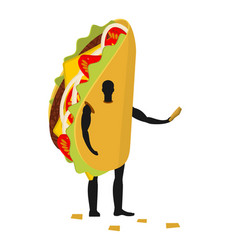 Taco man mascot promoter male in costume fried vector