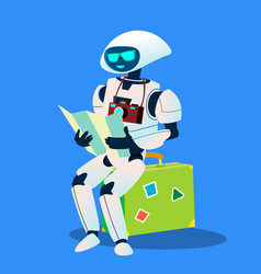 tourist robot with camera and map isolated vector image