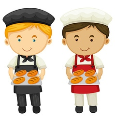 Two bakers with fresh baked bread vector