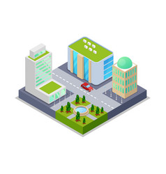 urban real estate isometric 3d icon vector image