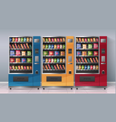 vending machines realistic vector image