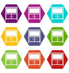 vintage sideboard icon set color hexahedron vector image